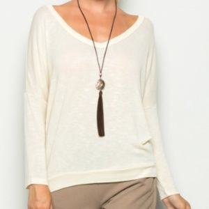 Ivory French Terry V Neck Top